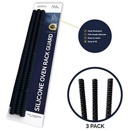 YHK 3er-Pack Silikonofen-Rack-Schutz - Hitzebeständiger Metall-Rack-Schutz - Intelligentes Zubehör, das Ihren Arm vor Verbrennungen in Gas-, Elektro-, Konvektions-, Toaster- oder Gebläseöfen schützt