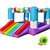 TURFEE Rainbow Inflatable Jumper Bounce House with Blower,Bounce House with Slide, Repair Patches, and Stakes, for Kids Indoor Outdoor.Easy Set Up,Backyard and Party Fun,138x 106 x 73