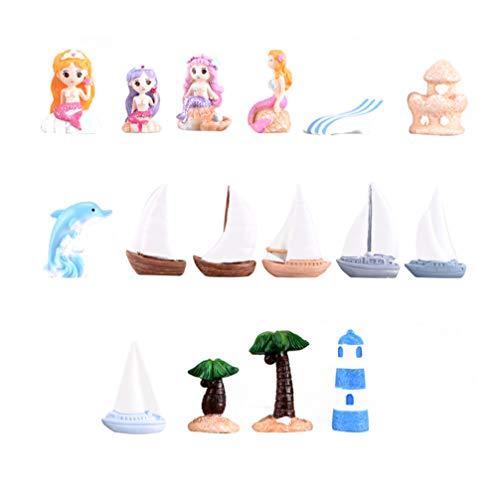 Holibanna 16 Piezas Modelo de Barco de Vela en Miniatura Faro de Sirena Náutica Estilo de Playa Figuritas Mediterráneas Adornos para Oficina Hogar Jardín de Hadas Bonsai Artesanía
