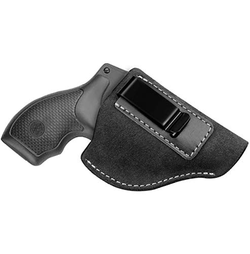 Elite Tactic IWB Leather Holster for J Frame Revolvers Including Ruger SP101 LCR, Smith and Wesson Bodyguard, Taurus 50 85, Charter Arms/Kimber K6s & Most .38 Special Type (Black Suede)