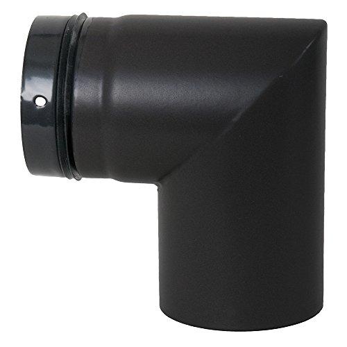 MULDENTHALER Ofenrohr, Bogen für Pelletofen, geschweißt, 90°, ø 80 mm, Steckrichtung zum Schornstein Mattschwarz (emailliert)