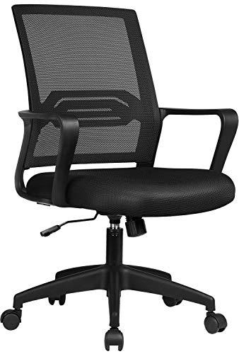 COMHOMA Bürostuhl Ergonomisch Schreibtischstuhl Drehstuhl mit Netzrückenlehne Wippfunktion höhenverstellbar Schwarz