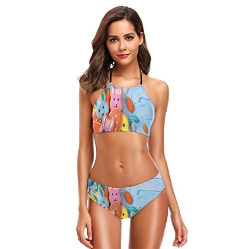 not applicable Bikini-Badeanzüge der Frauen Zweiteilige Foto des Ostern-Kaninchen-Plätzchen-bunten Feiertags-Bonbon-blauen hölzernen Hintergrundes
