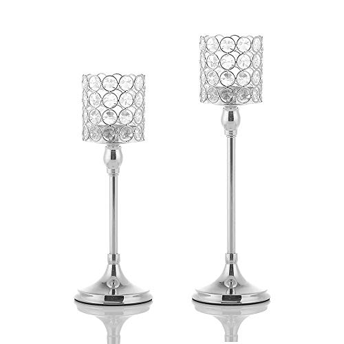 VINCIGANT Set von 2 Kristall Silber Kerzenhalter für Home Modern Decor/Hochzeit Tischdekoration, Jubiläumsfeier Geschenke, 30cm & 35cm hoch