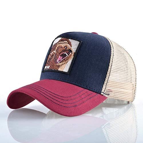 Gorras de béisbol de Moda Hombres Mujeres Snapback Hip Hop Sombrero Verano Malla Transpirable Sun Gorras Unisex Streetwear-Red1Bear
