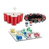 Relaxdays 3X Set Giochi per Bere, per Adulti, Roulette Alcolica, Beer Pong con Bicchieri Rossi & Ludo, Divertimento Game di Gruppo