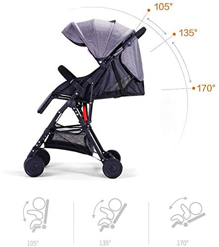 LAMTON Baby Pushchair, Buggy, Pushchairs Baby Strollers, Trolley for Children Lightweight Portable Folding Seat for Children 0-3 Years Cart for Children (Color : Blue) LAMTON The adjustable 5-point safety harness has comfortable shoulder pads, The sturdy frame has a wider seat which results in a more comfortable ride for your child The stroller can be easily folded, smaller and more portable; the adjustable backrest angle can be seated or lying down, as well as a large shopping basket and caster 1. The body is made of high quality steel tube, sturdy and durable, sturdy carrier, soft pedals, safe and ecological, does not scratch the child, strength and durability 4