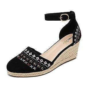 DREAM PAIRS Women's Black Closed Toe Ankle Strap Espadrilles Wedge Sandals Size 9 US Amanda-2
