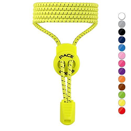 ALPHAPACE Pace Locks Elastische Schnürsenkel, Schuhbänder ohne Schnüren, Slip-on Schnellverschluss für Sport, Jugend & ältere Menschen, 120 cm, 1-Paar in Gelb