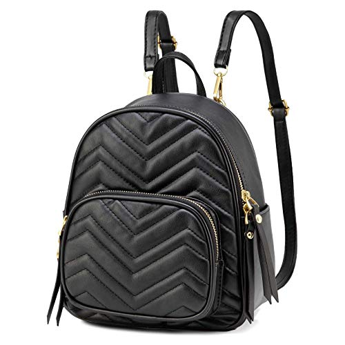Mini Backpack, Kasgo Fashion Small Backpacks for Women 3 Ways to Carry Ladies Casual Travel Girls Daypack with Detachable Straps Black
