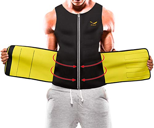 Mens Sauna Suit Waist Trainer Vest Neoprene Body Shaper Tummy Fat Loss Zipper Tank Top