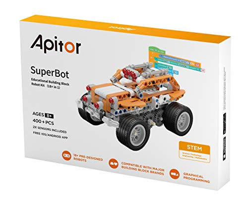 Apitor SuperBot 18 in 1 Roboter Kit, kompatibel mit allen bekannten Bausteinmarken, steuerbarer Baukasten, über 400 Bausteine, mit der App steuerbar