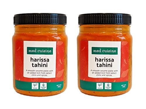 Med Cuisine Harissa Tahini - Pasta De Sésamo Suave Con Un Toque Extra De Chiles Y Especias Seleccionados - Salsa Picante De Tahini Harissa - Vegetariana, Sin OGM Y Sin Gluten (2 Paquetes)