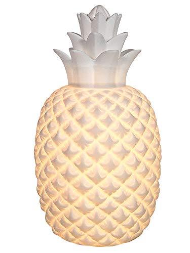 zeitzone Tischleuchte Ananas Tischlampe Pineapple Karibik Keramik Weiß 30cm