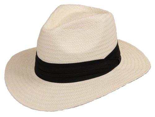 Scippis Strohhut Bogarthut Sommerhut Panama »Mineo« White Weiß Gr.L
