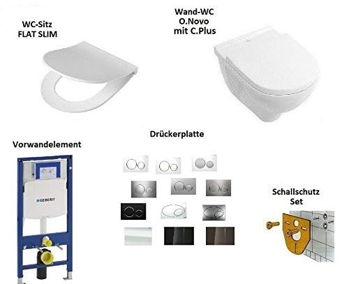 *Komplett-Set* - V&B O.Novo - Wand-WC mit C.Plus + WC-Sitz + Geberit Duofix UP320 Element + Drückerplatte - Sigma 70 - Glass Weiss