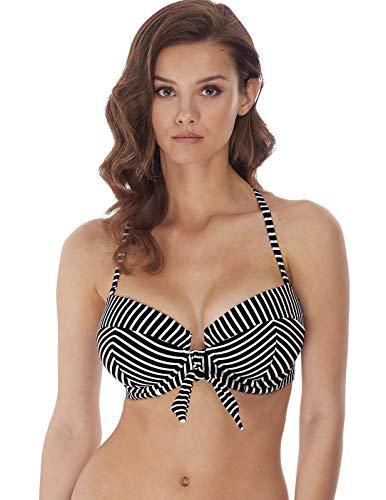 Freya Beach Hut Bandeau Bikini Top, 32G, Black Stripe