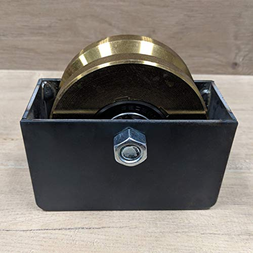 4' V-Groove Sliding Gate Wheel & Axle- Includes 5' x 3' Weld In Mounting Box