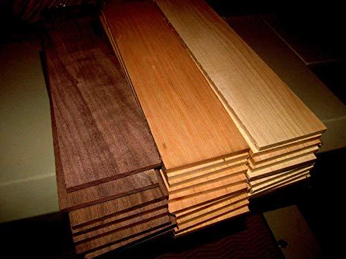 "Maple Walnut Cherry Kiln Dried Sanded Exotic Wood Lumber Boards, 12"" X 3"" X 3/8"", Set of 10"