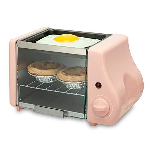 WZYJ 2 en 1 Mini eléctrico para Hornear Panadería Horno asado Parrilla Huevos fritos Tortilla sartén para Preparar el Desayuno máquina de Pan Tostadora,Rosado