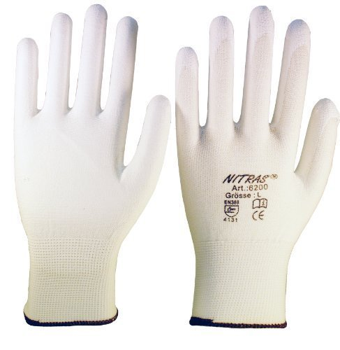 12 Paar Montagehandschuh Nylon NITRAS 6200 weiß PU Handschuhe Gr. XL (9)
