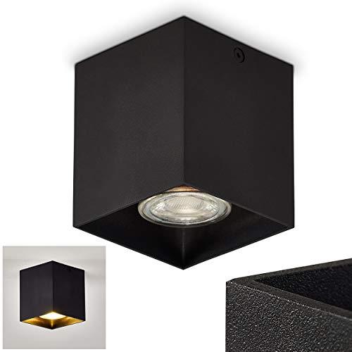 Deckenleuchte Curacao, eckige Deckenlampe aus Metall in Schwarz, 1 x G10-Fassung, max. 50 Watt, Leuchtspot 1-flammig, Aufbauleuchte für LED Leuchtmittel geeignet