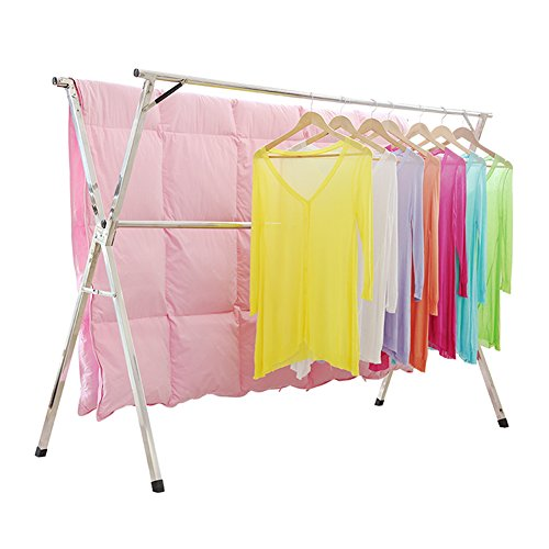 SHAREWIN Clothes Drying Rack for Laundry Free Installed Space Saving Folding Hanger Rack Heavy Duty Stainless Steel
