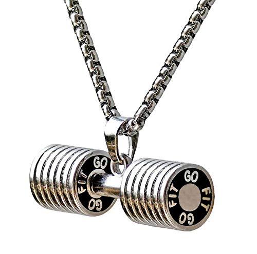 QAZQAZ Hantel Anhänger Halskette für Frauen Bodybuilding Gym Gewicht Crossfit Langhantel Halskette Fitness Schmuck