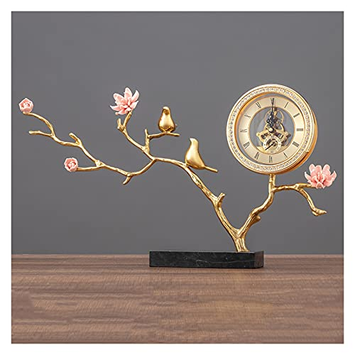 Tingting1992 Alarm Clock Table Clock New Chinese Style Brass Desk Clock Ornaments Living Room Decoration Clocks Desktop Desk Clocks Home Desk Clock (Size : E)