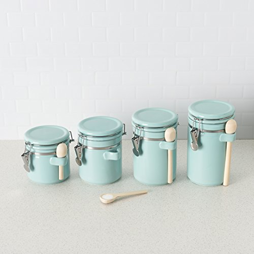 Home Basics 4PC Ceramic Canister Set W/Spoon (Turquoise) Nebraska