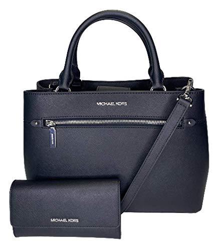 MICHAEL Michael Kors Hailee Large Satchel bundled with Michael Kors Jet Set Travel Large Trifold Wallet (Black)