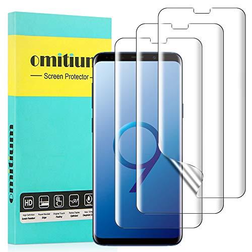 omitium Schutzfolie für Samsung Galaxy S9, [3 Stück] Samsung Galaxy S9 Displayschutzfolie [Max Abdeckung] Klar TPU Weich Folie Fingerabdruck-ID unterstützen Blasenfreie Samsung Galaxy S9 Displayschutz