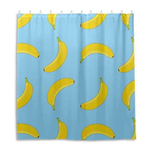 Duschvorhang, Bananen-Muster, wasserdicht, mit 12 Haken für Badewanne, Bad, Küche (168 x 182 cm)