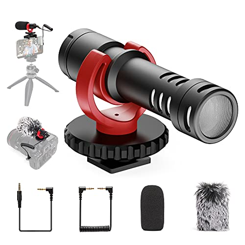 Video Microphone, Ekasn Mini On-Camera Mic with Shock Mount, Deadcat Windscreen, Microphone Works for iPhone, Android Smartphones, Canon EOS, Nikon DSLR Cameras and Camcorders,Vlogging Shotgun.