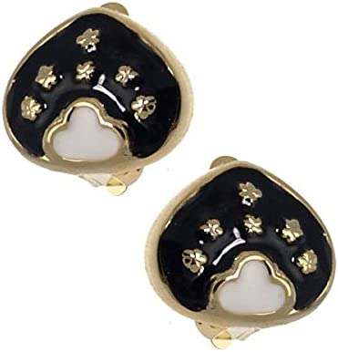 Darina Gold tone Black White Clip On Earrings