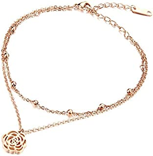 OPK Europe Style Rose Gold Plating Extended Chain Titanium Steel Women Anklet