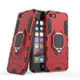Cocomii Black Panther Ring iPhone SE/5S/5C/5 Case, Slim Thin Matte Vertical & Horizontal Kickstand Ring Grip Reinforced Drop Protection Bumper Cover Compatible with Apple iPhone SE/5S/5C/5 (Red)