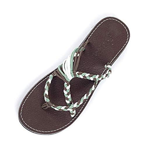 MRULIC Retro Damen Hausschuhe Hanfseil Flip Flops Flache Mode Römischen Sandalen Strand Schuh Zehentrenner Zuhause Hausschuhe(Khaki,35 EU)