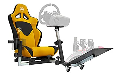 Openwheeler GEN2 Racing Wheel Stand Cockpit Yellow on Black | Fits All Logitech G29 | G920 | All Thrustmaster | All Fanatec Wheels | Compatible with Xbox One, PlayStation, PC Platforms