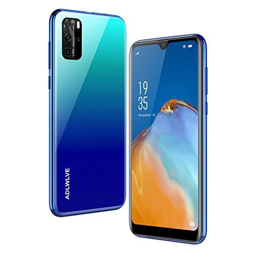 Teléfono Móvil Libres, 3GB RAM/32GB ROM Moviles Libres Baratos 4G,6,3 Water-Drop Pulgadas, Android 9.0, 4600mAh Batería, Smartphone Barato Dual SIM, Cámara 8MP, Face ID Smartphone Libre (Azul)