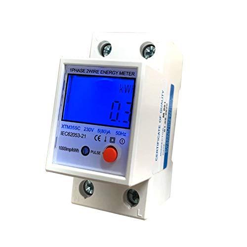 JVJ 5(80) A LCD Digitale Stromzähler Wechselstromzähler Hutschiene KWh Zähler 1-phasiger 2-poliger 2P-DIN-Schienen-Stromzähler AC230V