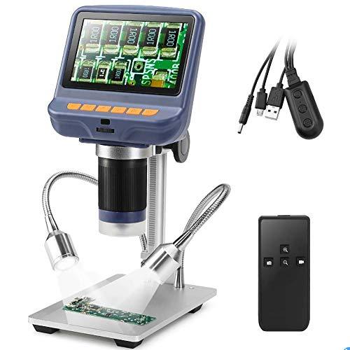 DOOK Microscopio Digital HD de 4.3 Pulgadas 10-220X ángulo Ajustable con 8 Resalte Regulables Luz Micro SD de Almacenamiento de Cámara del Teléfono Móvil de Reparación LED