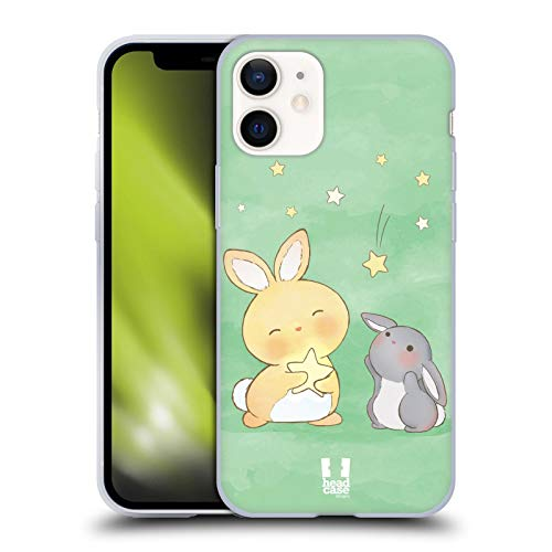 Head Case Designs Verde Conejitos del Receptor de La Estrella Carcasa de Gel de Silicona Compatible con Apple iPhone 12 Mini