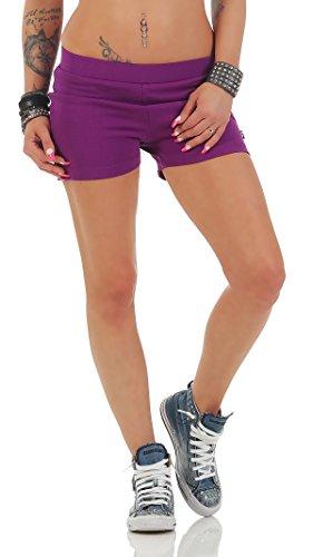 Gennadi Hoppe Damen Hotpants Kurze Fitness Hose Kurze Hose Laufshorts Sporthose Trainingshose Gym Strech Shorts (2XL, lila)