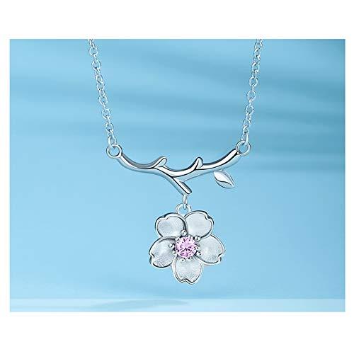zlw-shop Collar de Mujer Collar de Flor de Cerezo Collar de Plata Salvaje Japón y Corea del Sur Clavícula Cadena Collar Joyería Femenina 925 Plata Simple Collares Pendientes (Color : A)