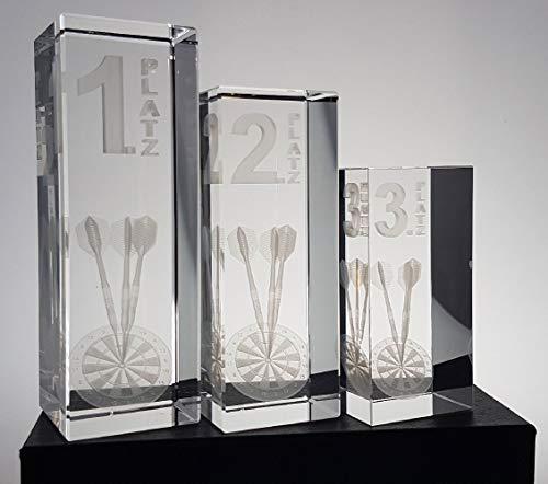 DARTS Sport Edition Dart Pokal 3er Serie - Platz 1 bis 3 im Set - Glaspokal