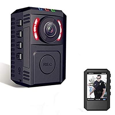 Body Camera with Clip, Built in 64GB SD Card, Body Cam with Night Vision FHD 1080P Body Camera for Law Enforcement,Wearable Body Cam with Phone App for Car, Bike,Hiking from RZATU