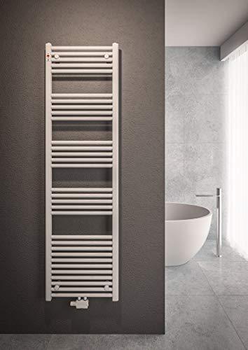 Mert Heizung mit Thermostat Fernwärme Warmwasser Bad-Heizung 1200x400 Bad-Heizkörper 1/2 Zoll Mittelanschluss 50 mm weiß Handtuchhalter für Wandmontage
