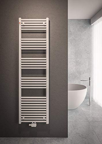 Mert Heizung mit Thermostat Fernwärme Warmwasser Bad-Heizung 1500x500 Bad-Heizkörper 1/2 Zoll Mittelanschluss 50 mm weiß Handtuchhalter für Wandmontage