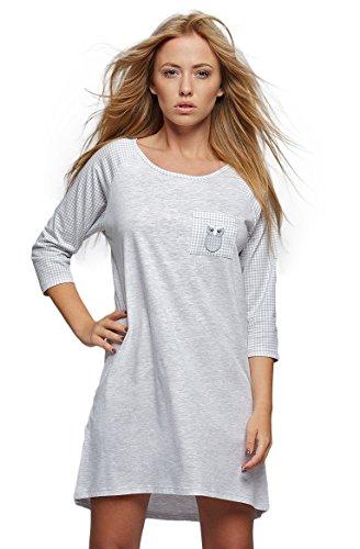 SENSIS modisches Nachthemd (Made in EU) Sleepshirt mit praktischen 3/4-Ärmeln aus Baumwolle, Grau/Weiß mit Eule, Gr. S/M (36/38)